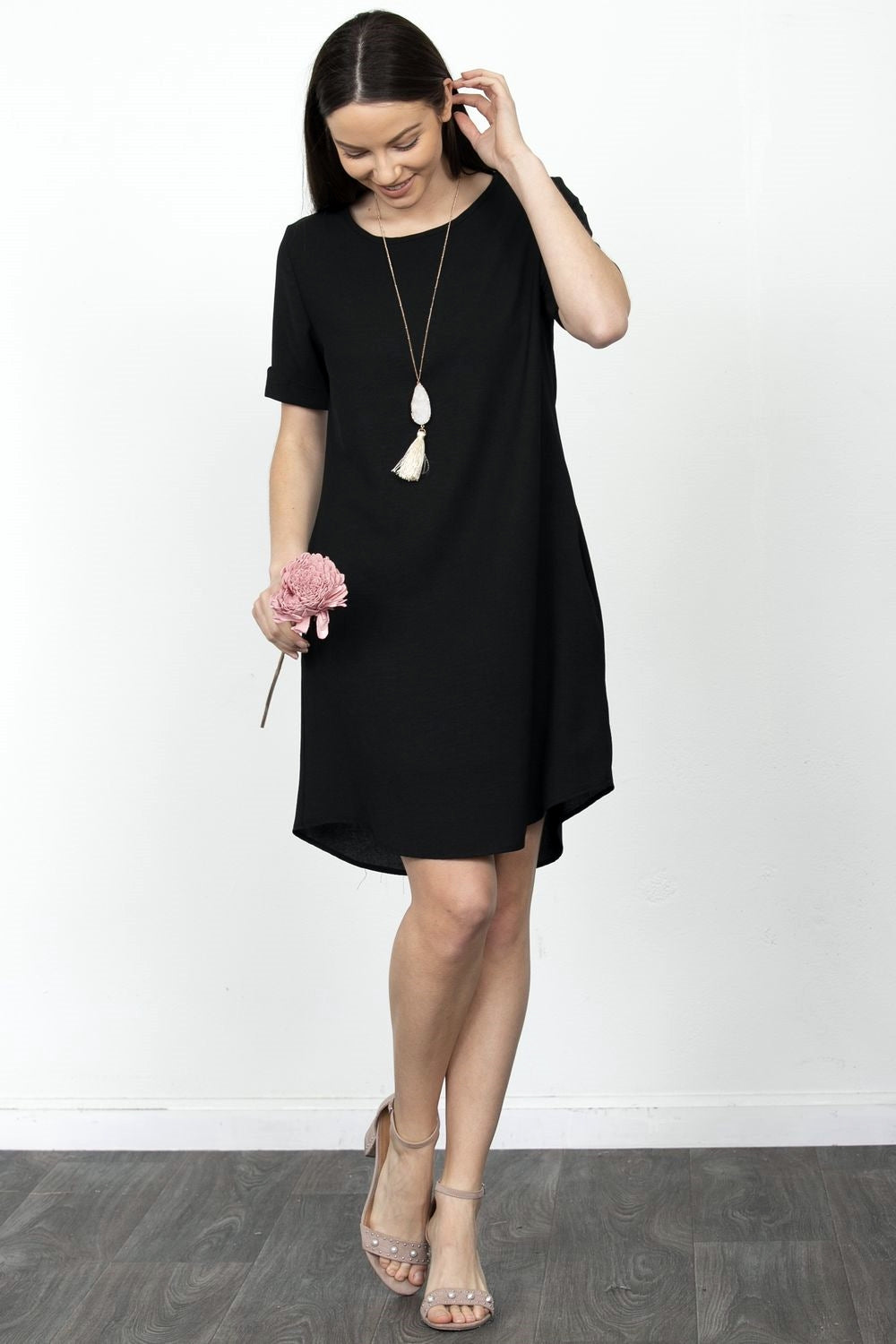 Black Curved-Hem Mini Dress