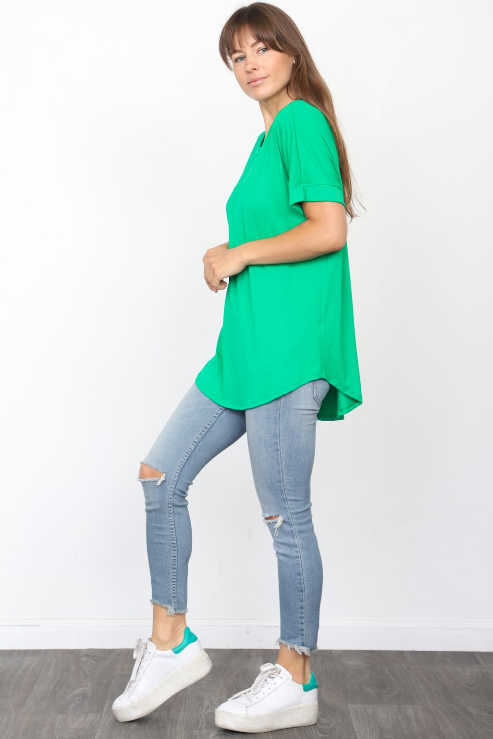Solid Kelly Green Round Neck Rolled Cuff Sleeve Top