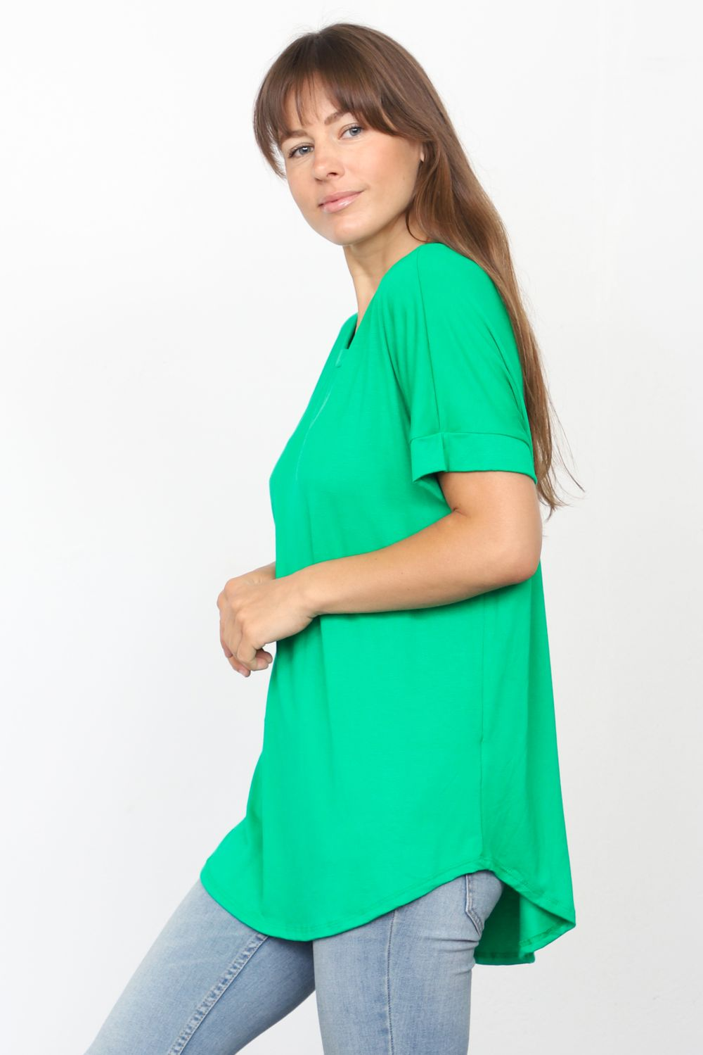 Solid Kelly Green Round Neck Rolled Cuff Sleeve Top_Plus