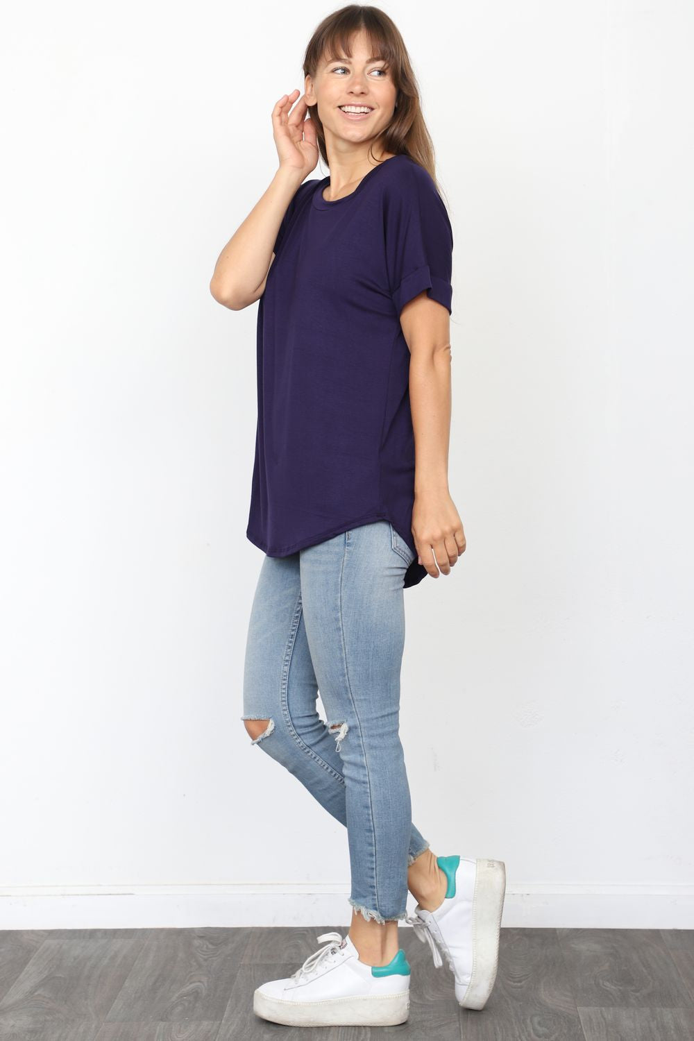 Solid Navy Round Neck Rolled Cuff Sleeve Top_Plus