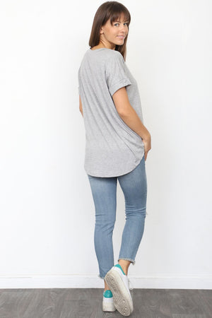 Solid Grey Round Neck Rolled Cuff Sleeve Top_Plus