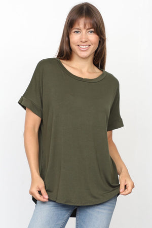 Solid Olive Round Neck Rolled Cuff Sleeve Top_Plus