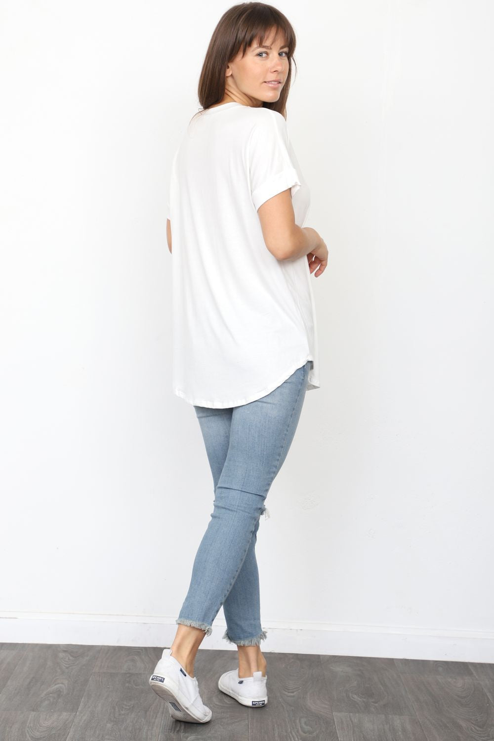 Solid Ivory Round Neck Rolled Cuff Sleeve Top