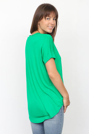 Solid Kelly Green V-Neck Rolled Cuff Sleeve Top