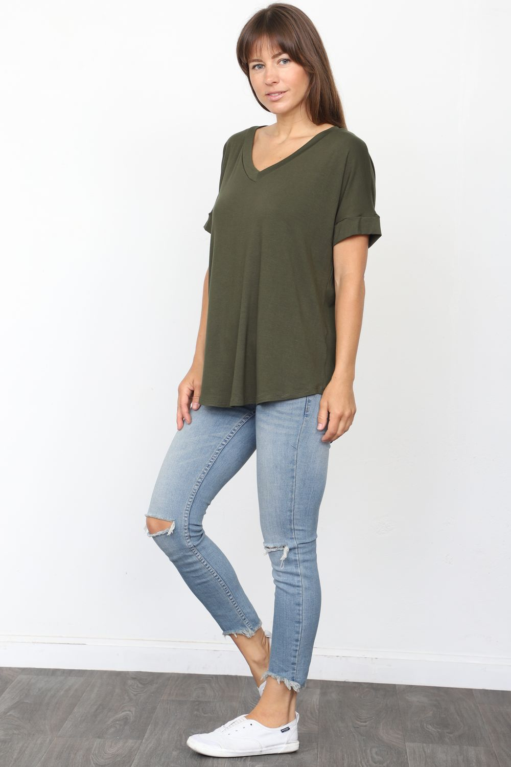 Solid Olive V-Neck Rolled Cuff Sleeve Top