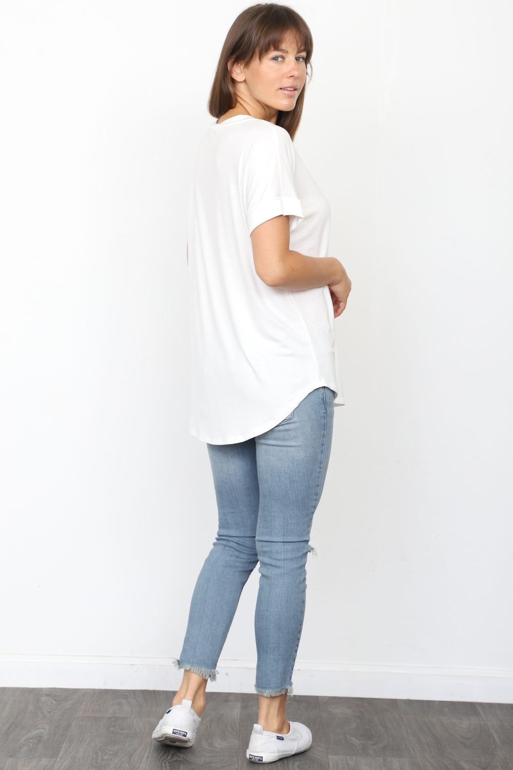 Solid Ivory V-Neck Rolled Cuff Sleeve Top