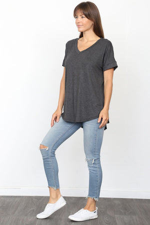 Solid Charcoal V-Neck Rolled Cuff Sleeve Top_Plus