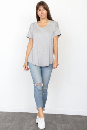 Solid Grey V-Neck Rolled Cuff Sleeve Top