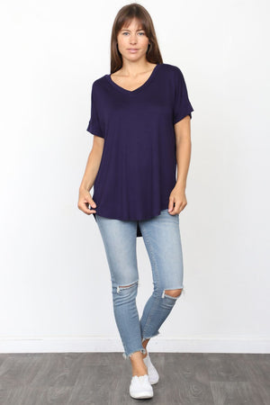 Solid Navy V-Neck Rolled Cuff Sleeve Top_Plus