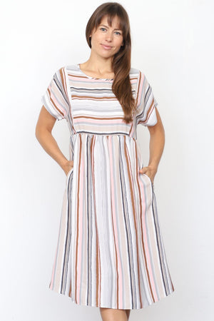 Grey & Brown Multi Stripe Short Sleeve Midi Dress_Plus