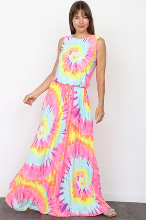Coral Mint Swirl Tie-Dye Sleeveless Waist-Tie Maxi Dress_Plus