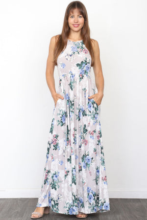 Grey Floral Sleeveless Maxi Dress