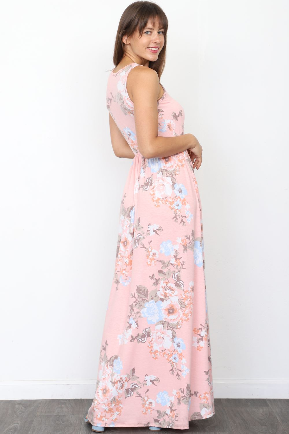 Baby Pink Floral Sleeveless Maxi Dress