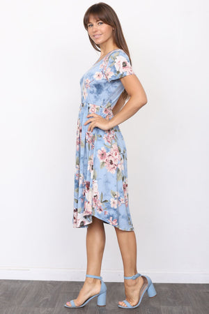 Blue Almond Flower Short Sleeve Midi Dress