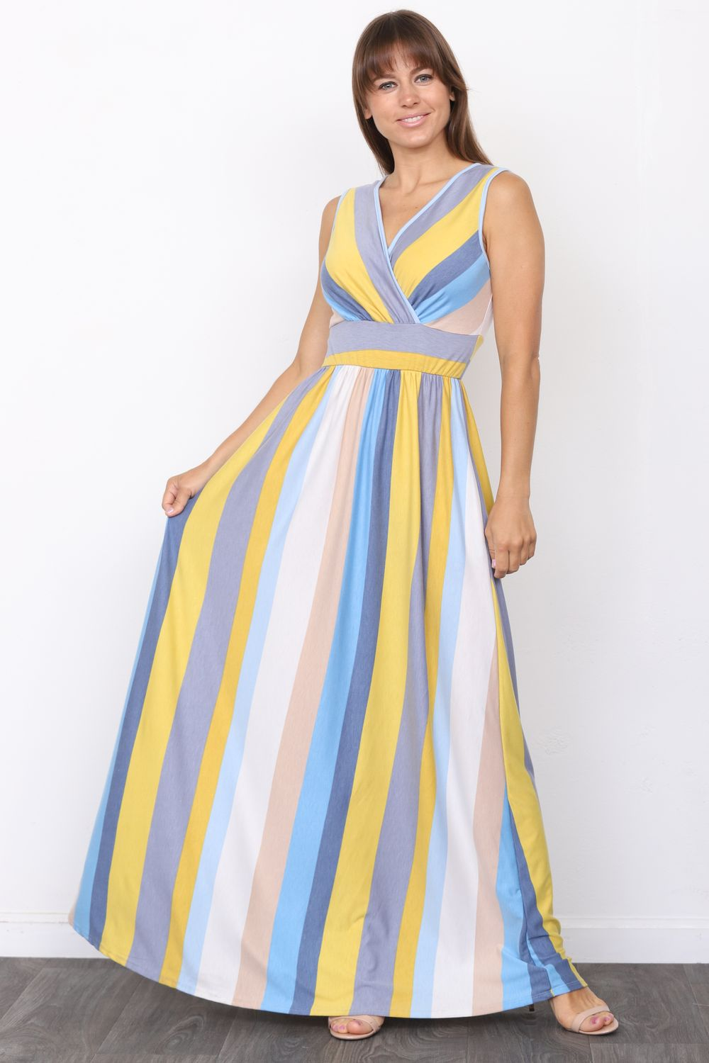 Yellow & Blue Stripe Surplice Sleeveless High Waist Maxi Dress_Plus
