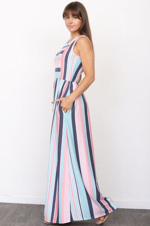 Pink & Mint Multi Stripe Sleeveless Maxi Dress_Plus
