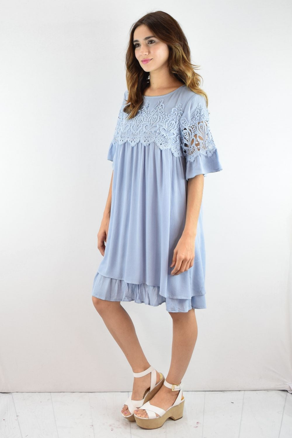 Pastel Blue Ruffle Mini Dress with Crochet Panel