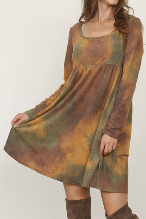 Brushed Rusty Olive High Waist Tie-Dye Mini Dress