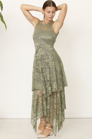 Olive Illusion Neckline Lace Maxi Dress