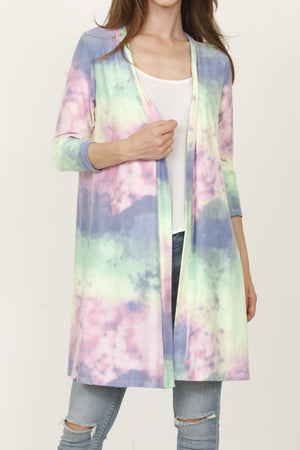 Pastel Tie Dye 3/4 Sleeve Open Cardigan_Plus