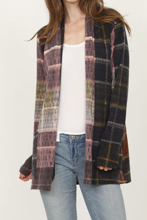 Purple Rust Windowpane Plaid Cardigan With Pockets