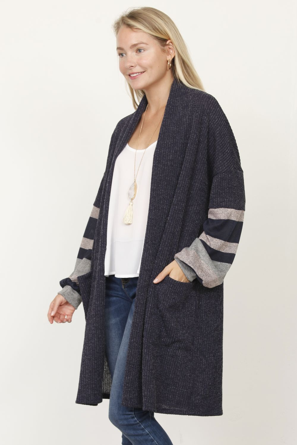 Bishop Sleeve Long Cardigan