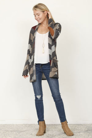 Charcoal & Burgundy Chevron Elbow Patch Cardigan With Pockets_Plus