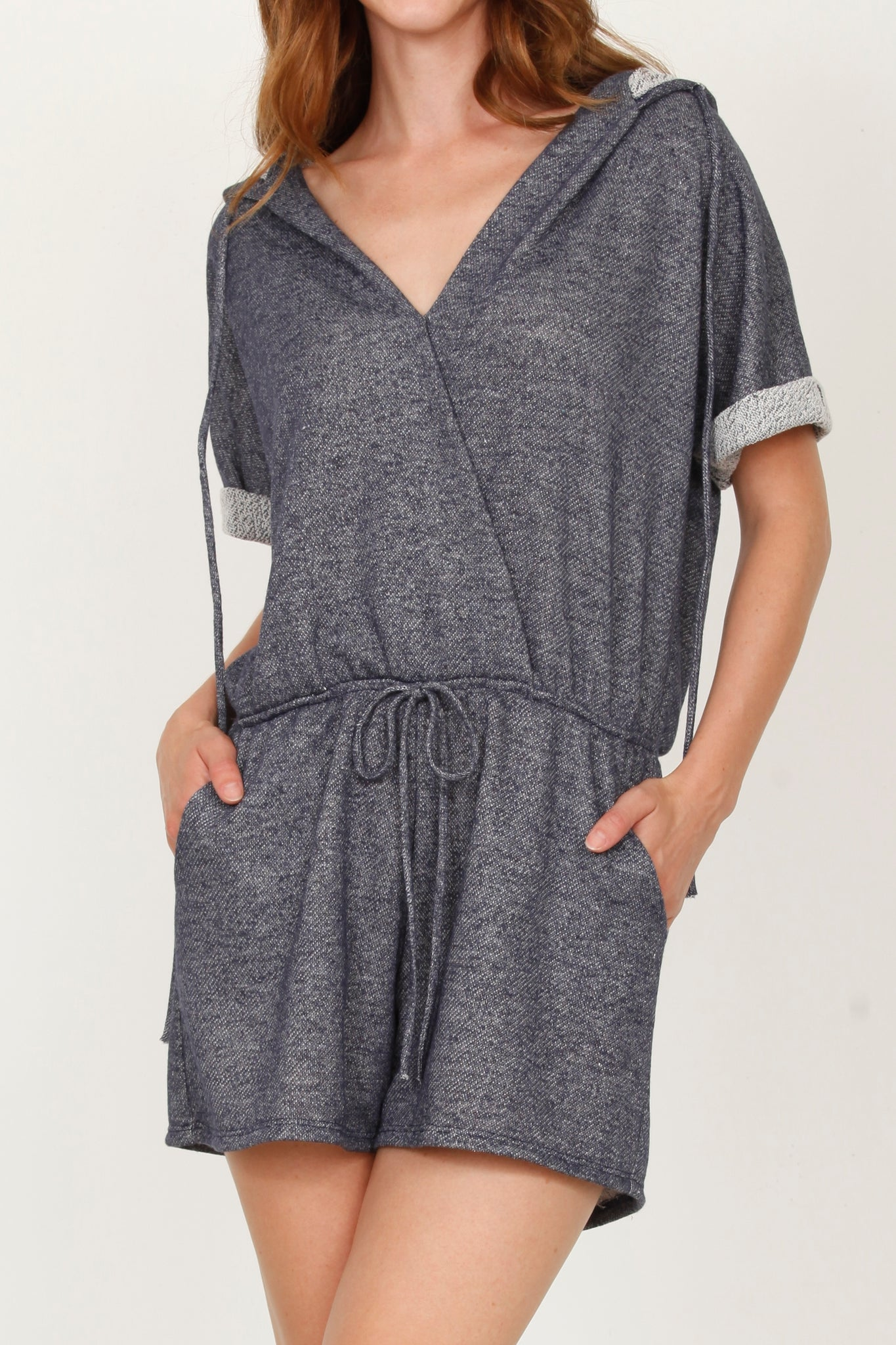 Navy French Terry Romper With Hood_Plus