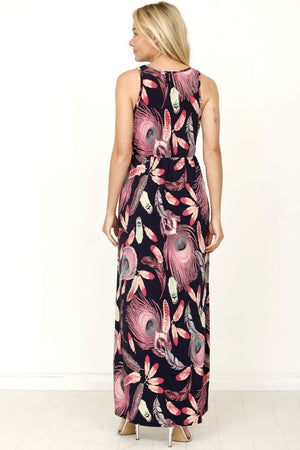 Navy Peacock Feather Maxi Dress
