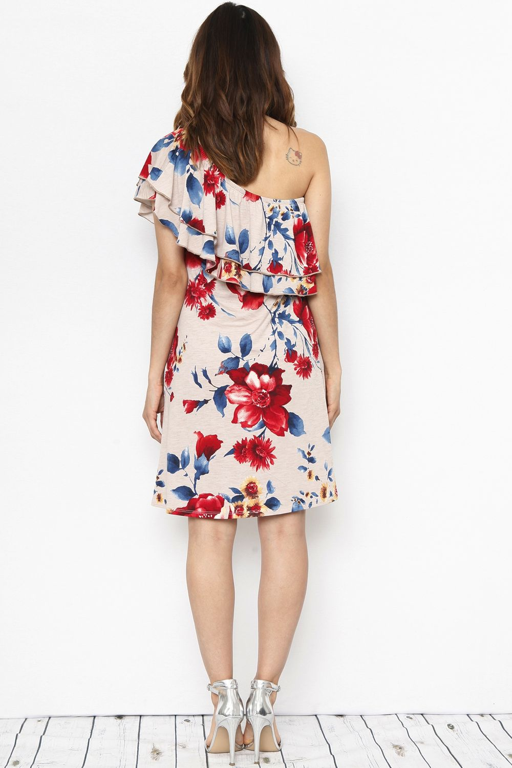 Cream Floral One Shoulder Mini Dress