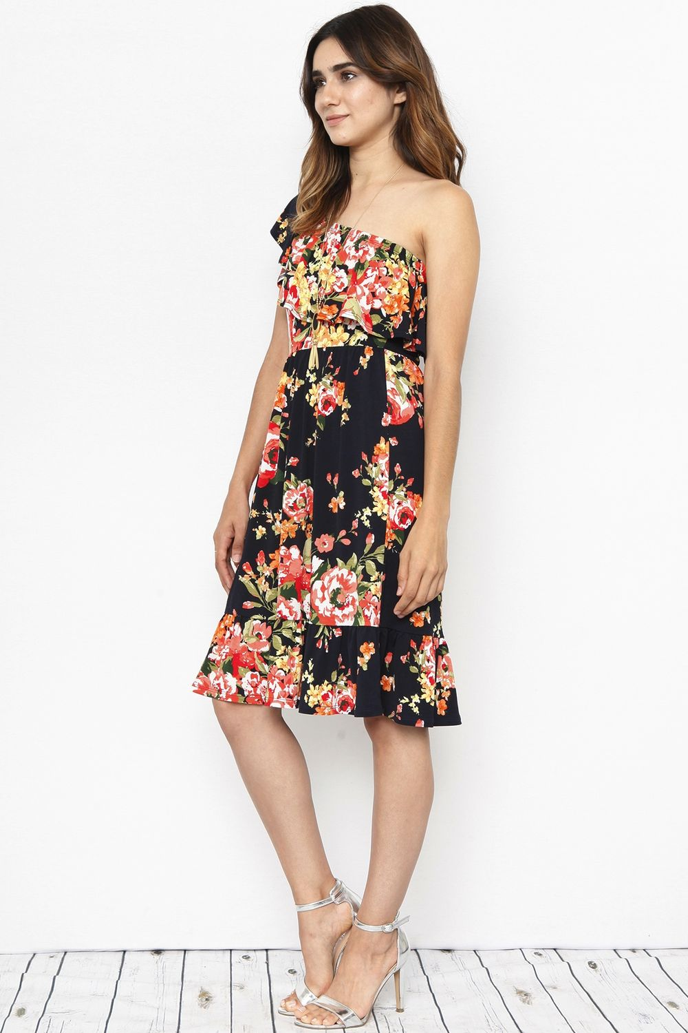 Navy & Coral Floral One Shoulder Ruffle Midi Dress