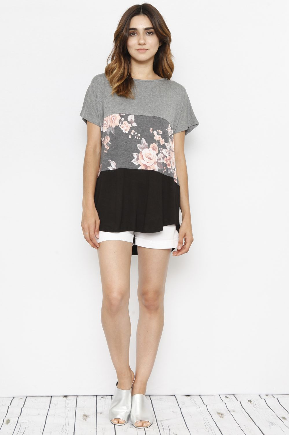 Short Sleeve Floral Color-Block Top