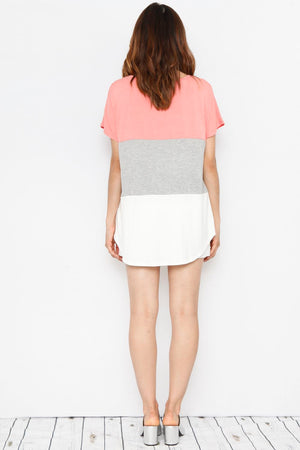 Coral & Ivory Color-Block Top