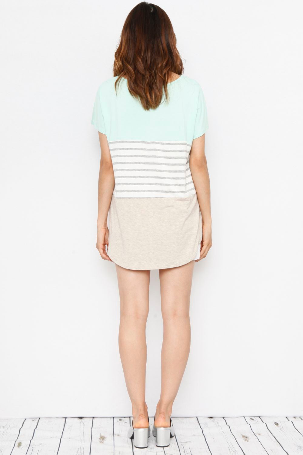Mint & Cream Color-Block Top