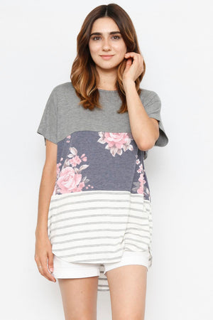 Floral Color-Block Top