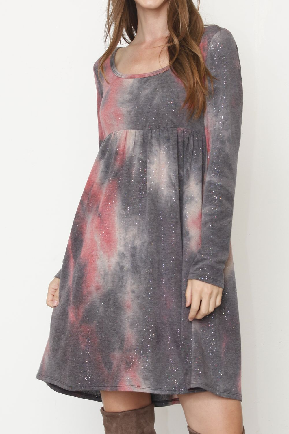 Galaxy Coral High Waist Tie-Dye Mini Dress_Plus