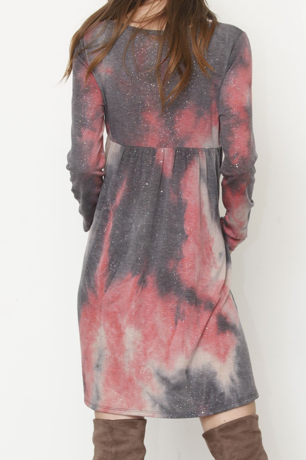 Galaxy Coral High Waist Tie-Dye Mini Dress