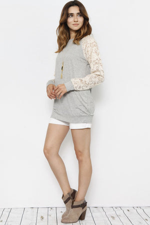 Cream Lace Sleeve Raglan Tunic_Plus