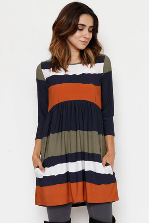 Olive & Navy Stripe High Waist Dress