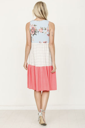 Mint Floral & Coral Tiered Sleeveless Mini Dress