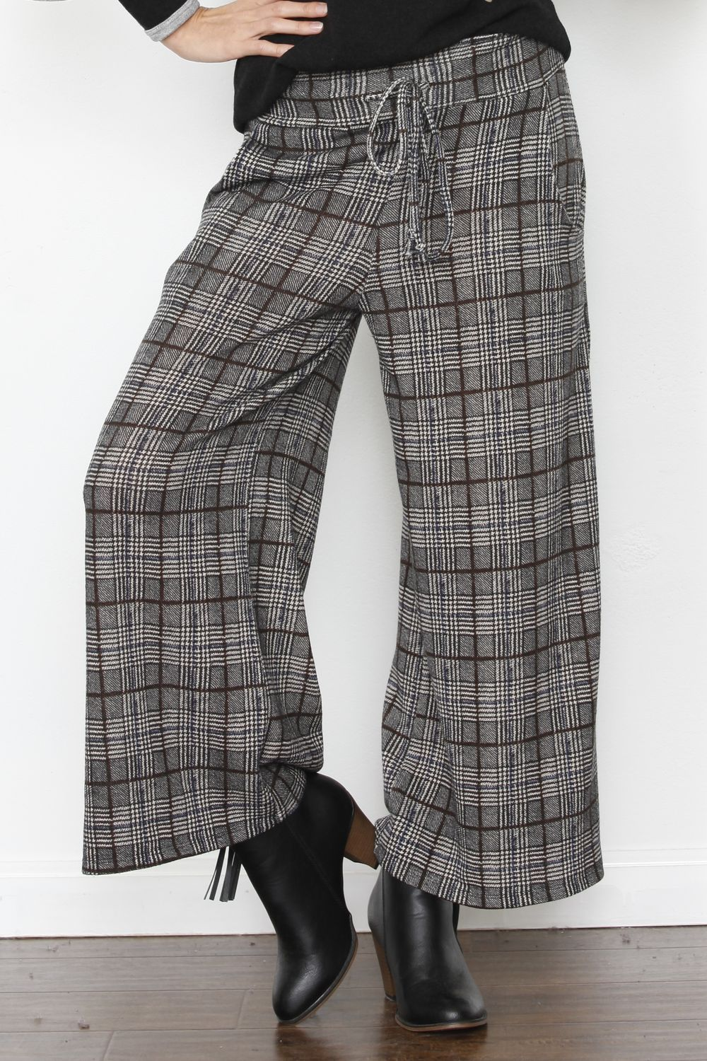 Charcoal Burgundy Plaid Wide Pants