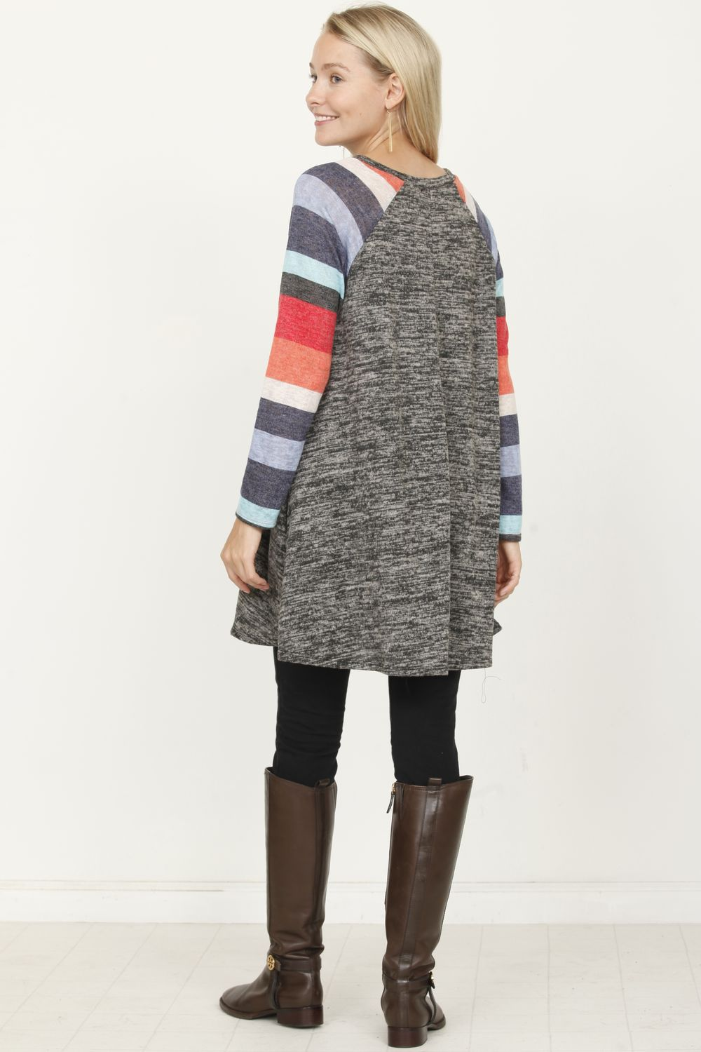 Charcoal Multi-Color Sleeve A Line Tunic