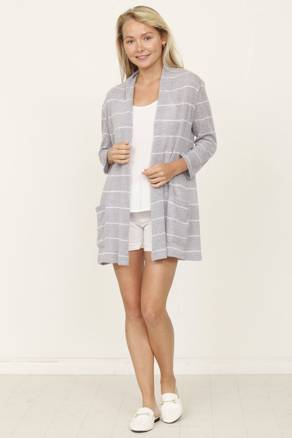 Grey Stripe Cardigan