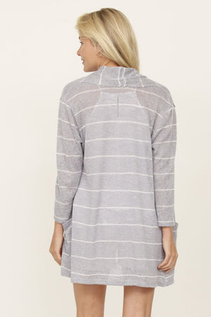 Grey Stripe Cardigan_Plus