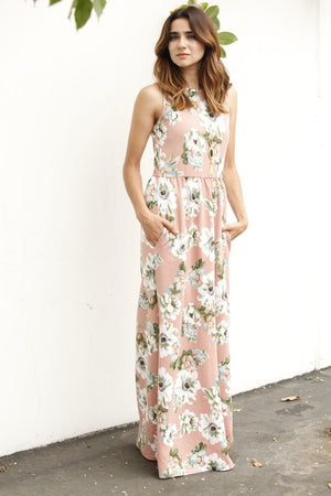 Pastel Pink Floral Maxi Dress