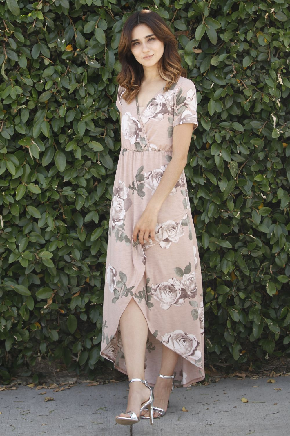 Cream Floral Surplice Tulip Hem Maxi Dress
