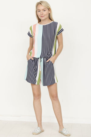 Navy & Sage Multi Stripe Short Sleeve Romper