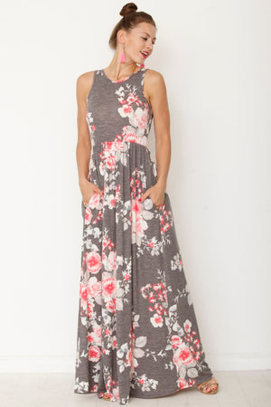Vintage Charcoal & Pink Floral Sleeveless Maxi Dress