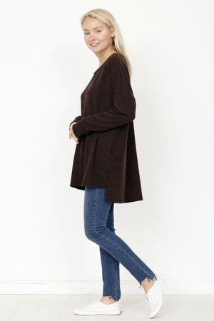 Brown High Low Knit Tunic