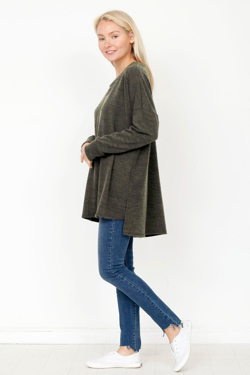 Olive High Low Knit Tunic_Plus